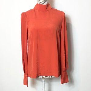 H&M mock neck button back blouse top shirt NWT